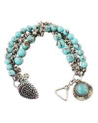 Lucky Brand | Green Turquoise Beaded Tassel Bracelet | Lyst