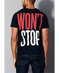 Forever 21 Black Can'T Stop Won'T Stop Tee for men