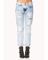 Forever 21 Blue Rebel Bleached Boyfriend Jeans