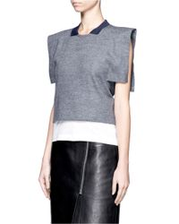 Toga - Gray Cape Sleeves Collared Top - Lyst
