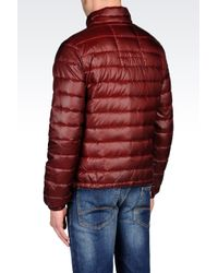 Armani Jeans Red Full Zip Down Jacket in Technical Fabric for men