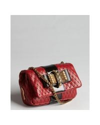 Christian Louboutin - Red And Black Leather Goldtone Bow Snake Chain Sweet Charity Bag - Lyst