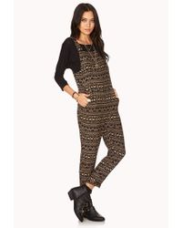 Forever 21 Brown Day Trippin' Woven Jumpsuit