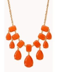 Forever 21 - Red Luxe Teardrop Bib Necklace - Lyst