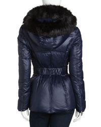 Laundry by Shelli Segal Blue Faux Fur-trimmed Belted Coat