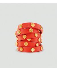 Tory Burch Orange Double Wrap Logo Stud Bracelet