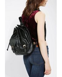 Urban Outfitters Black Vegan Leather Drawstring Backpack