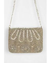 Urban Outfitters Metallic Ecote Joy Ride Beaded Clutch