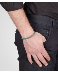 Bottega Veneta - Green Menthe Intrecciato Oxidized Silver Nappa Bracelet for Men - Lyst