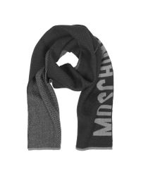 Moschino - Gray Signature Reversible Wool Long Scarf - Lyst