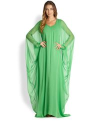 Oscar de la Renta - Green Long Silk Caftan - Lyst