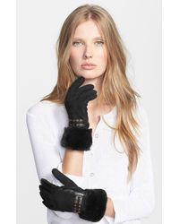 UGG | Black Fabrizia Leather Gloves | Lyst