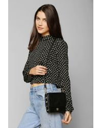 Urban Outfitters Black Violet Ray Studlined Doubleflap Crossbody Bag