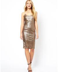 ASOS Metallic Sequin Cami Midi Dress