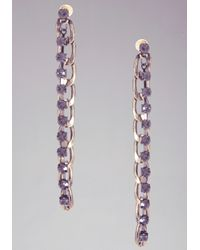 Bebe | Purple Chainlink Stone Linear Earrings | Lyst