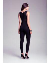 Bebe - Black Petite Mesh Jumpsuit - Lyst