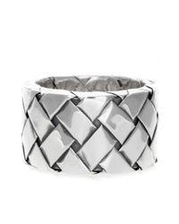 Bottega Veneta Metallic Silver Intrecciato Ring