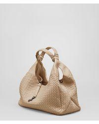 Lyst - Bottega Veneta Walnut Intrecciato Nappa Campana Bag in Natural d40c9d21cc2cb