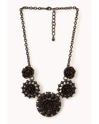 Forever 21 - Black Dark Rose Bib Necklace - Lyst