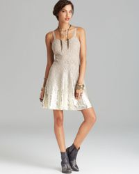Free People Dress Foil Ombre Lace Fit And Flare In