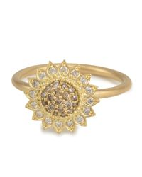 Jamie Wolf - Metallic Small Sunflower Ring with Cognac and White Diamonds Size 7 - Lyst