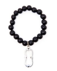 Loree Rodkin | Black Wooden Bead Bracelet With Diamond Charm | Lyst