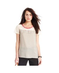 Maison Jules - Gray Shortsleeve Scoopneck Lace Striped - Lyst