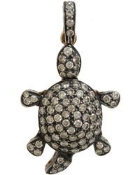 Munnu | Metallic Pave Diamond Turtle Charm | Lyst