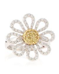 Roberto Coin - Metallic Diamond and Sapphire Daisy Ring Size 65 - Lyst