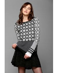 Urban Outfitters | Gray Shae Optic Texturedprint Sweater | Lyst