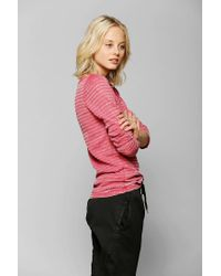 Urban Outfitters | Red Color Fast Thermal Henley Top | Lyst