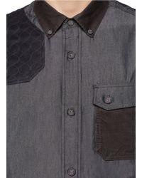 White Mountaineering Black Contrast Panel Cotton Blend Denim Shirt for men