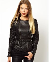 ASOS - Black Double Zip Belted Leather Jacket - Lyst