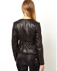 ASOS Black Double Zip Belted Leather Jacket