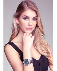 Bebe Metallic Crystal Encrusted Watch