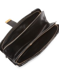Bottega Veneta Rafialana Snaketrimmed Clutch Bag Black