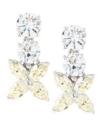 Fantasia by Deserio - White Flower-drop Cubic Zirconia Earrings - Lyst