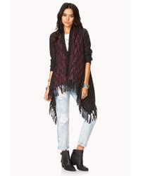 Forever 21 Purple On The Range Fringe Cardigan You've Been Added To The Waitlist