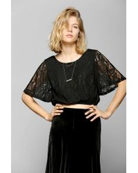 Urban Outfitters | Black Pins and Needles Lace Flutter Cropped Tee | Lyst