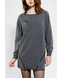 Urban Outfitters | Gray Sparkle Fade Zipper Sweatshirt Dress | Lyst