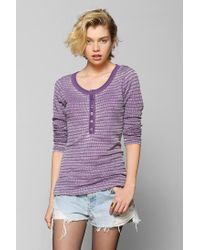 Urban Outfitters | Purple Colorfast Thermal Henley Top | Lyst