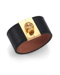 Alexander McQueen | Black Crystal & Grain Leather Gated Skull Cuff Bracelet | Lyst