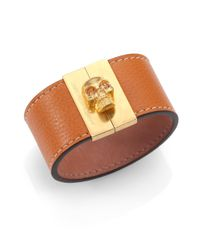 Alexander McQueen | Metallic Crystal & Grain Leather Gated Skull Cuff Bracelet | Lyst