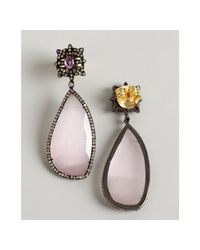 Amrapali - Pink Sapphire and Diamond Oval Drop Earrings - Lyst