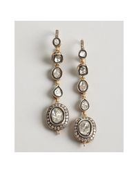 Amrapali | Metallic Gold and Sliced Diamond Tiered Drop Earrings | Lyst