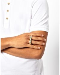 ASOS - Metallic Double Ring with Cross for Men - Lyst