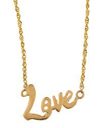 Lana Jewelry Metallic Mini Love 14K Gold Necklace