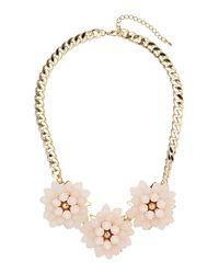 TOPSHOP - Metallic Triple Bead Flower Necklace - Lyst