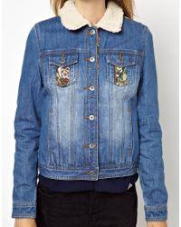 ASOS Blue Bellfield Denim Jacket with Tapestry Details