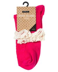 ASOS River Island Pink Contrast Cable Frill Ankle Socks